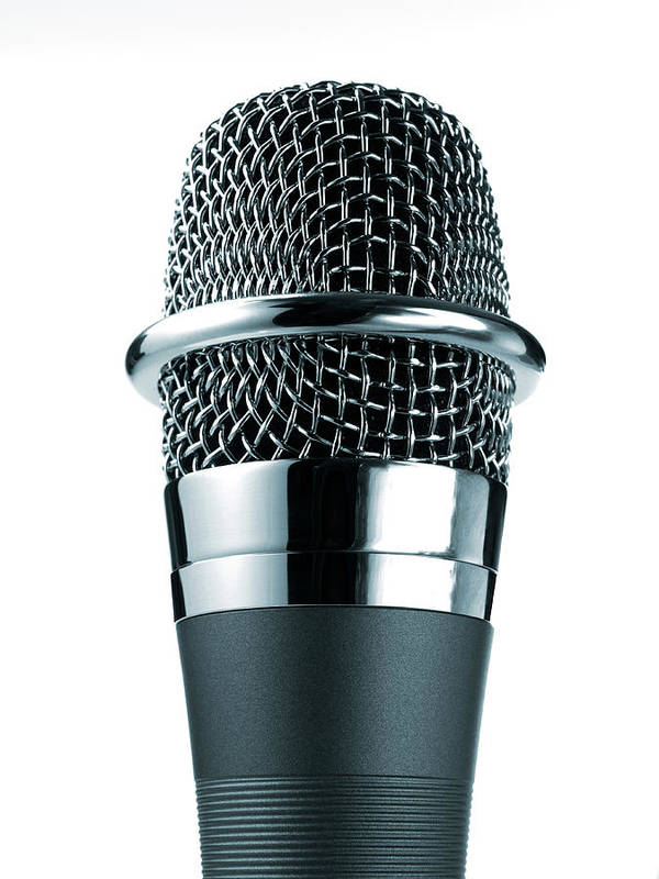 White Background Art Print featuring the photograph Studio Shot Of Microphone On White by David Arky