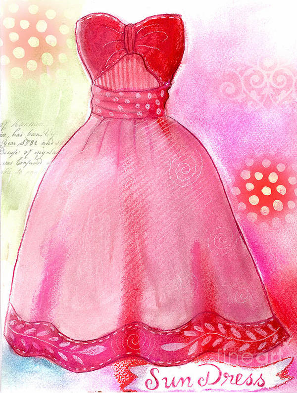 Dress Art Print featuring the mixed media Sun Dress by Elaine Jackson