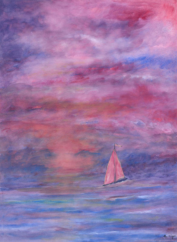 Saling Art Print featuring the painting Sunset Adventure by Ben Kiger