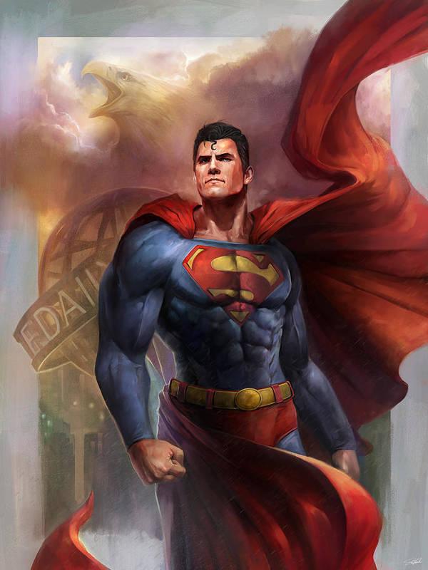 Superman Art Print featuring the digital art Man of Steel by Steve Goad