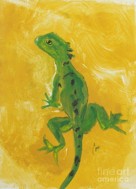 Lizard Art Print featuring the mixed media Take Five by Cori Solomon