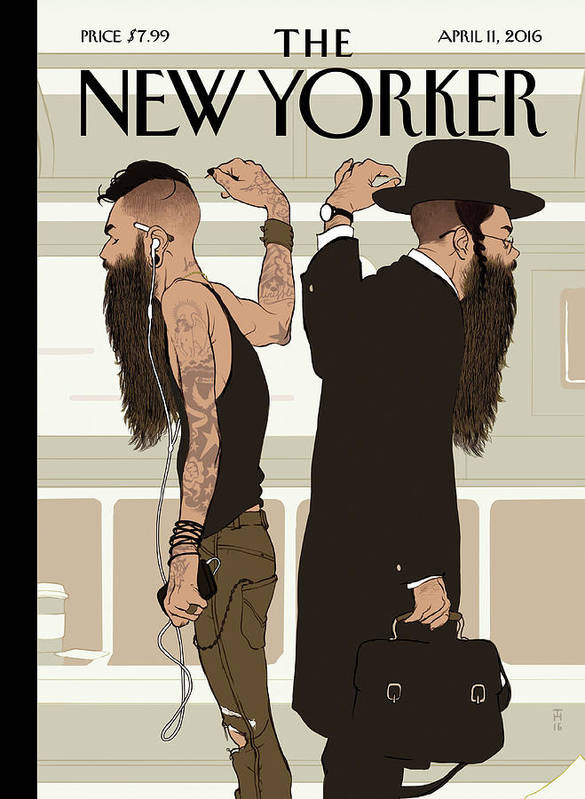 Jewish Art Print featuring the painting Take The L Train by Tomer Hanuka