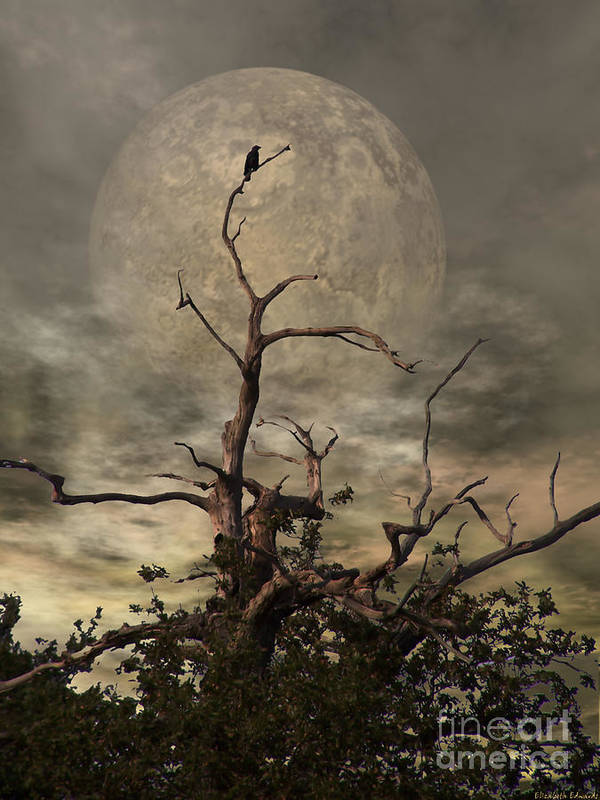 Crow Art Print featuring the digital art The Crow Tree by Abbie Shores