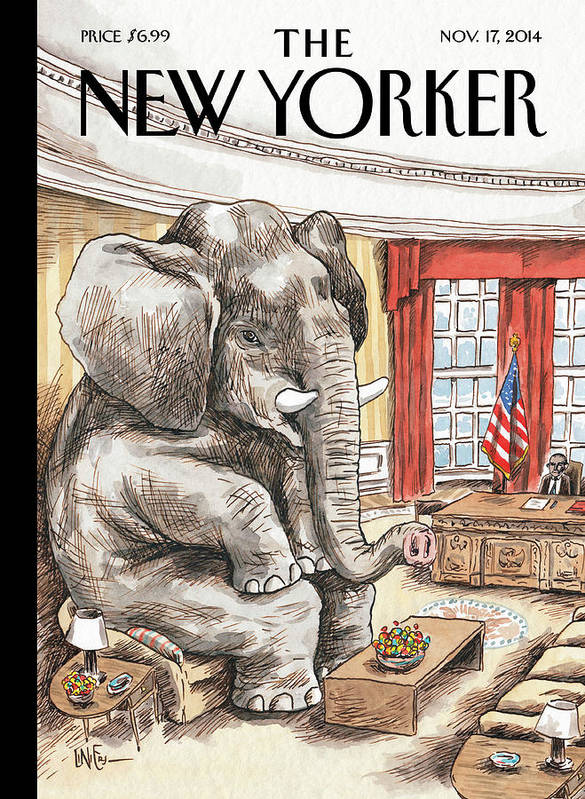 Republican Art Print featuring the painting The Elephant In The Room by Ricardo Liniers