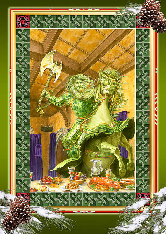 Christmas Art Print featuring the painting The Green Knight Christmas Card by Melissa A Benson