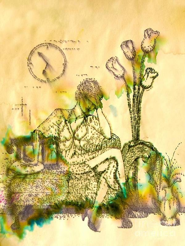 Woman Art Print featuring the drawing The Hold Up Sepia Tone by Angelique Bowman