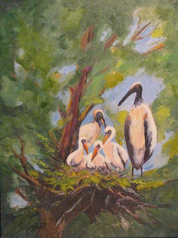American Stork Art Print featuring the painting The Stork Brought Them by Cecelia Campbell