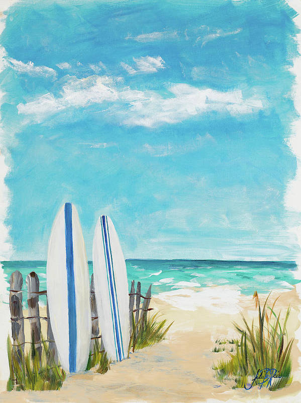 Tropical Art Print featuring the digital art Tropical Surf II by Julie Derice
