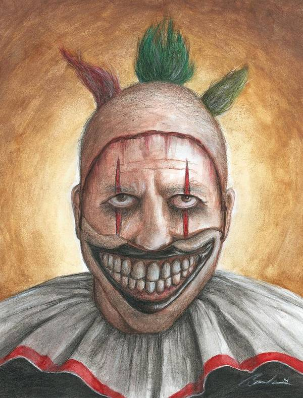 Clown Art Print featuring the painting Twisty by Bruce Lennon