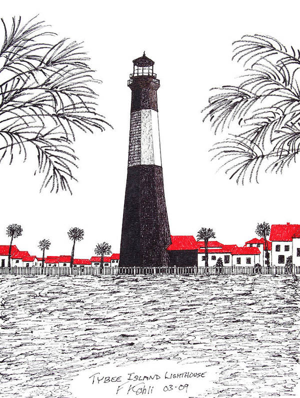 Pen And Ink Landscape Drawings Art Print featuring the drawing Tybee Island Lighthouse by Frederic Kohli
