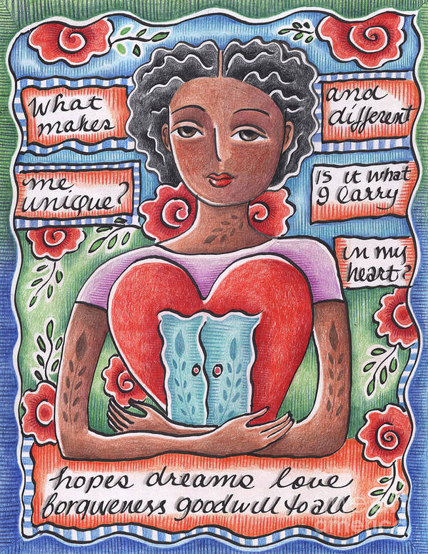 Heart Art Print featuring the mixed media Unique by Elaine Jackson
