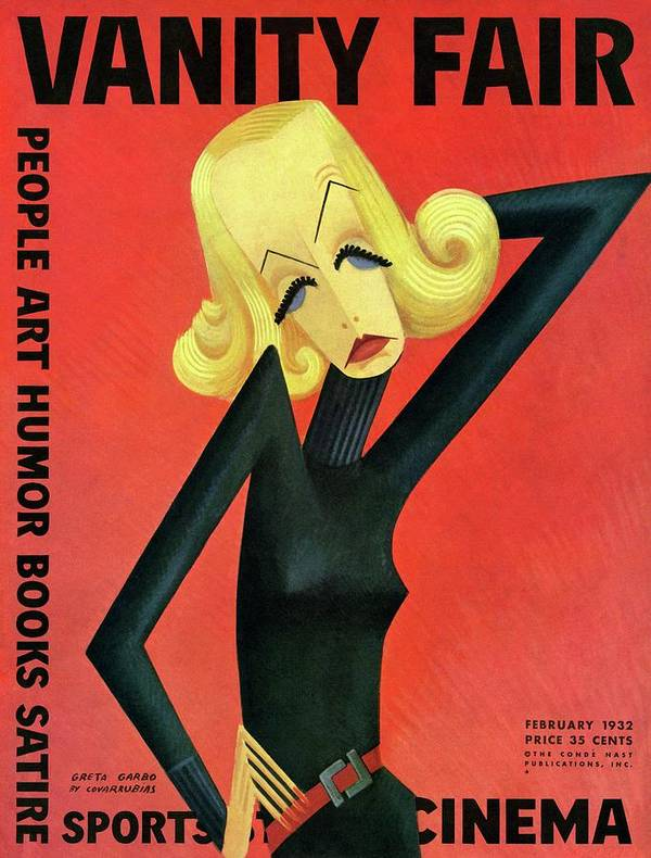 Actress Art Print featuring the photograph Vanity Fair Cover Featuring Greta Garbo by Miguel Covarrubias