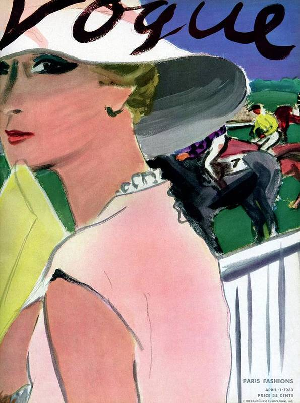 Illustration Art Print featuring the photograph Vogue Cover Illustration Of A Woman by Carl Oscar August Erickson