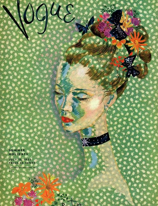 Illustration Art Print featuring the photograph Vogue Magazine Cover Featuring A Woman by Cecil Beaton