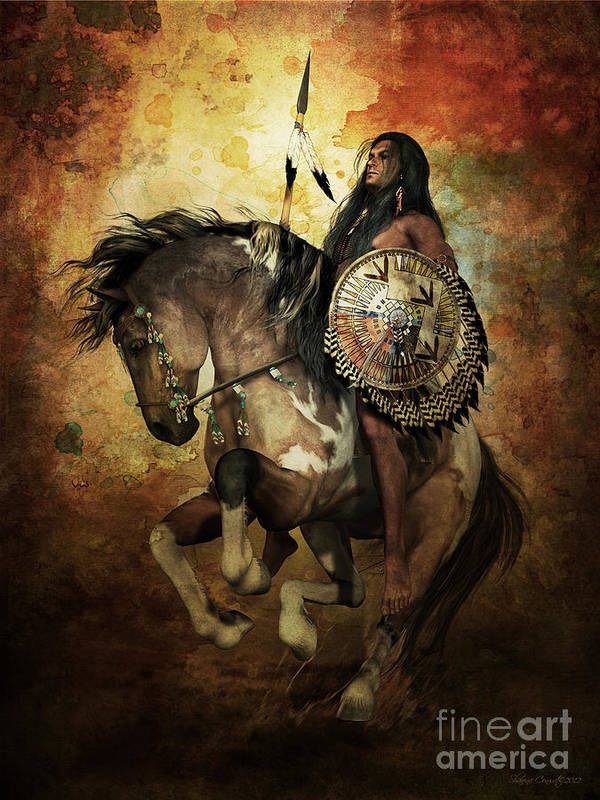Courage Art Print featuring the digital art Warrior by Shanina Conway