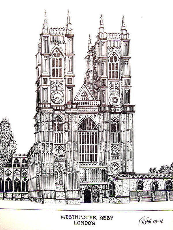 Ink Drawings Art Print featuring the drawing Westminster Abby - London by Frederic Kohli