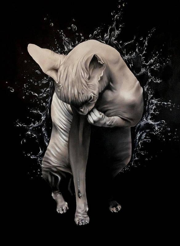 Original Art Print featuring the painting Wet Sphynx by Stephanie LeVasseur