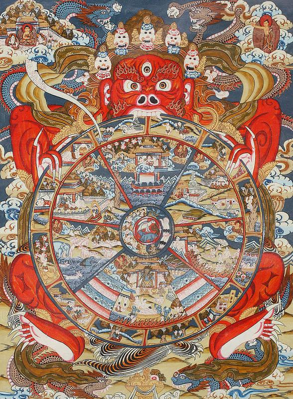 Wheel Of Life Or Wheel Of Samsara Art Print By Unknown
