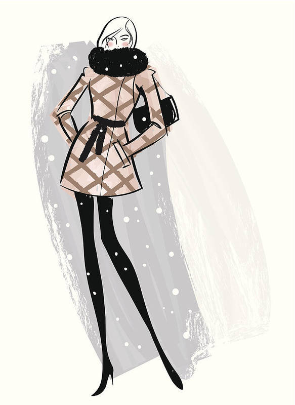 People Art Print featuring the digital art Woman Wearing Jacket In Snow by Mcmillan Digital Art
