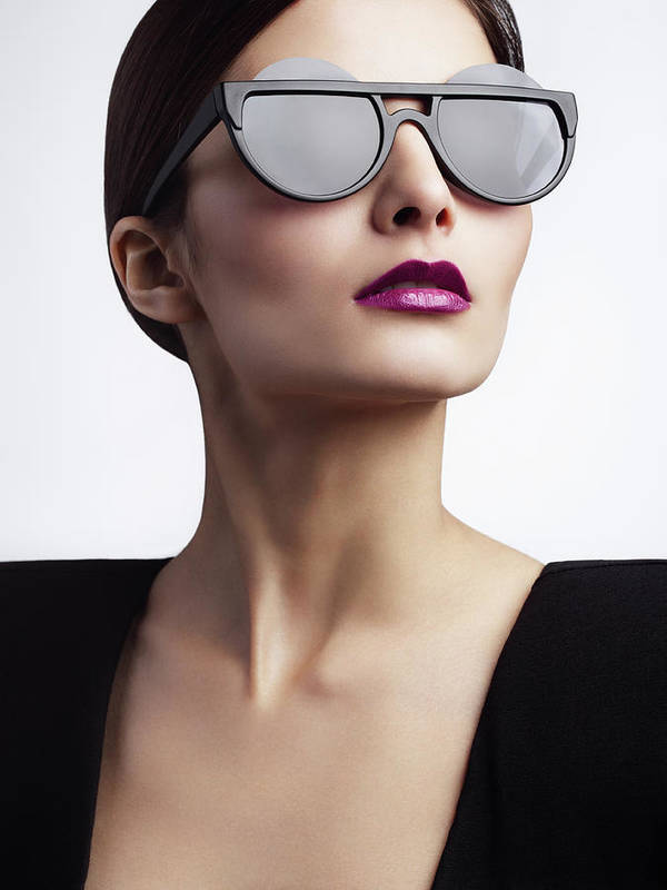 Cool Attitude Art Print featuring the photograph Woman With Trendy Eyewear by Lambada
