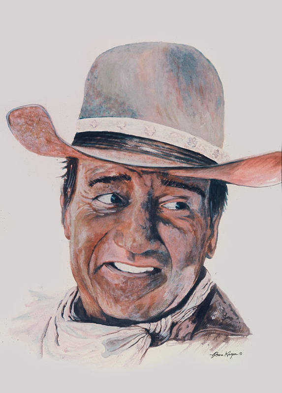 Portrait Art Print featuring the painting John Wayne by Ben Kiger