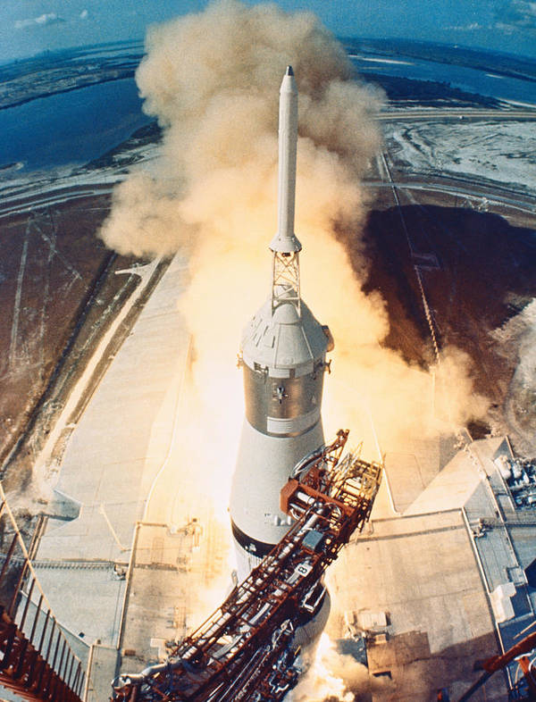 Vertical Art Print featuring the photograph The Launch Of A Space Rocket by Stockbyte