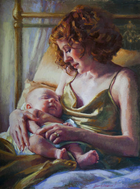 Maternal Art Print featuring the painting Devotion by Jean Hildebrant