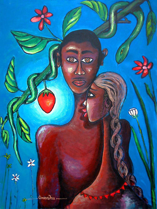 African Art Art Print featuring the painting Adam And Eve by Omenihu Amachi