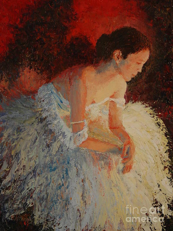 Oil Art Print featuring the painting Ballerina Pondering by Colleen Murphy