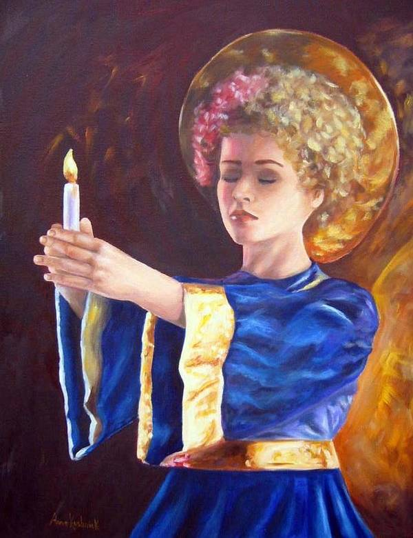 Portrait Art Print featuring the painting Candlemass by Anne Kushnick