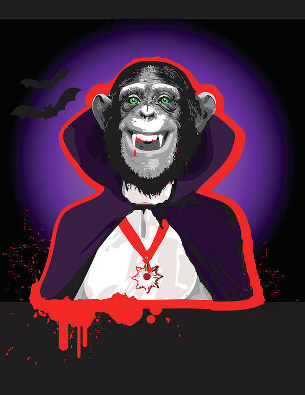 Vertical Art Print featuring the digital art Chimpanzee In Dracula Costume by New Vision Technologies Inc