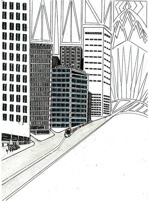Art Print featuring the drawing Cityscape by Harry Richards