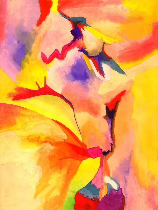 Colorful Art Print featuring the painting Coming Down by Peter Shor