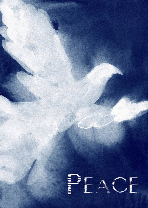 White Dove Art Print featuring the painting Dove Peace Holiday Card by Beverly Brown