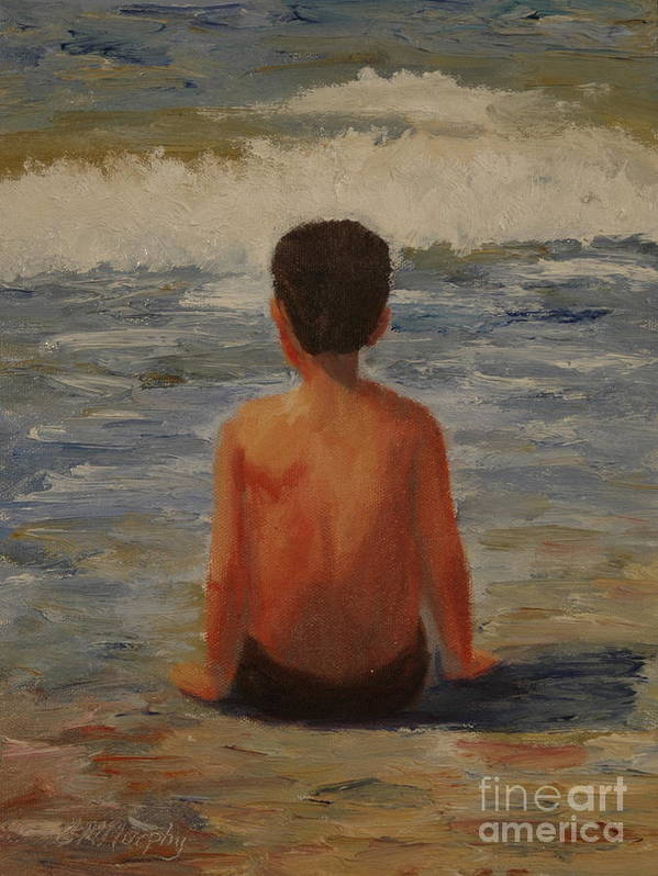 Child Art Print featuring the painting Listening to Mother Earth by Colleen Murphy