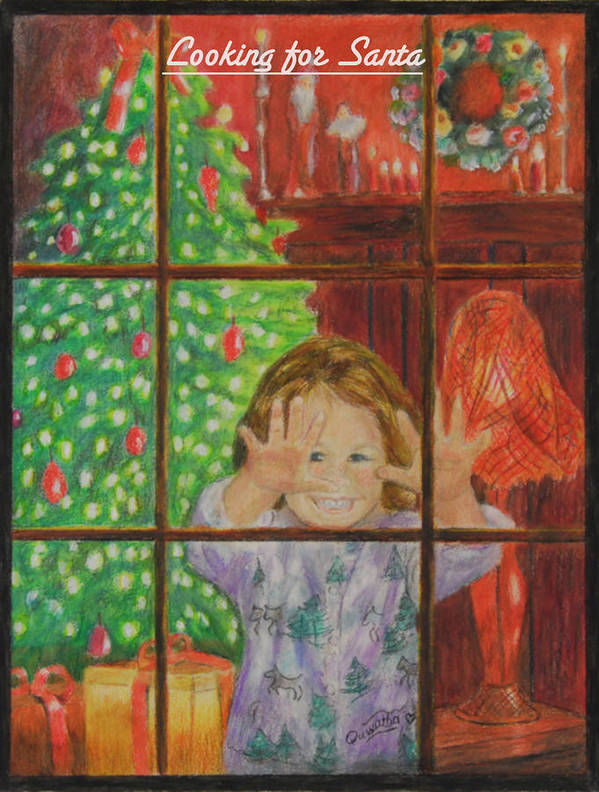 Christmas Card Art Print featuring the drawing Looking for Santa by Quwatha Valentine