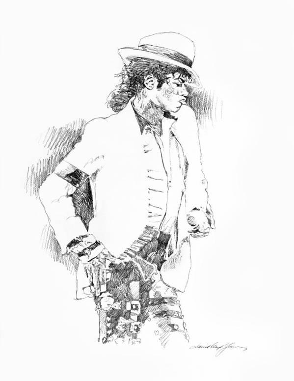 Michael Jackson Drawing Art Print featuring the painting Michael Jackson Attitude by David Lloyd Glover