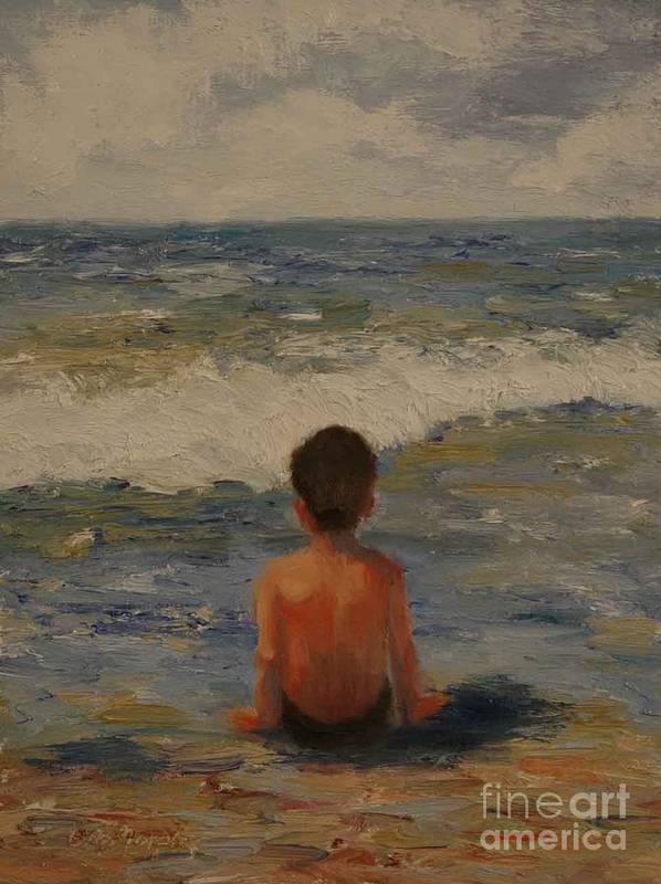Seascape Art Print featuring the painting Pondering the Universe by Colleen Murphy