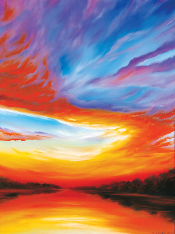 Sunrise; Sunset; Power; Glory; Cloudscape; Skyscape; Purple; Red; Blue; Stunning; Landscape; James C. Hill; James Christopher Hill; Jameshillgallery.com; Ocean; Lakes; Genesis; Creation; Quantom; Singularity Art Print featuring the painting The Seventh Day by James Christopher Hill