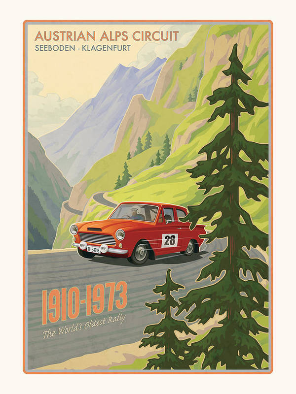 Rally Art Print featuring the digital art Vintage Austrian Rally Poster by Mitch Frey