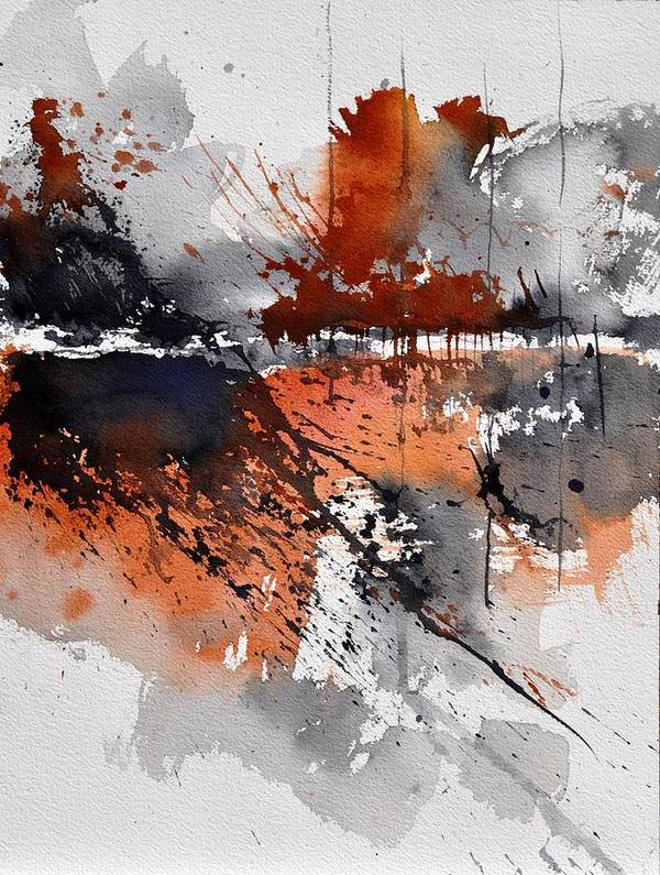 Abstract Art Print featuring the painting Watercolor 217031 by Pol Ledent