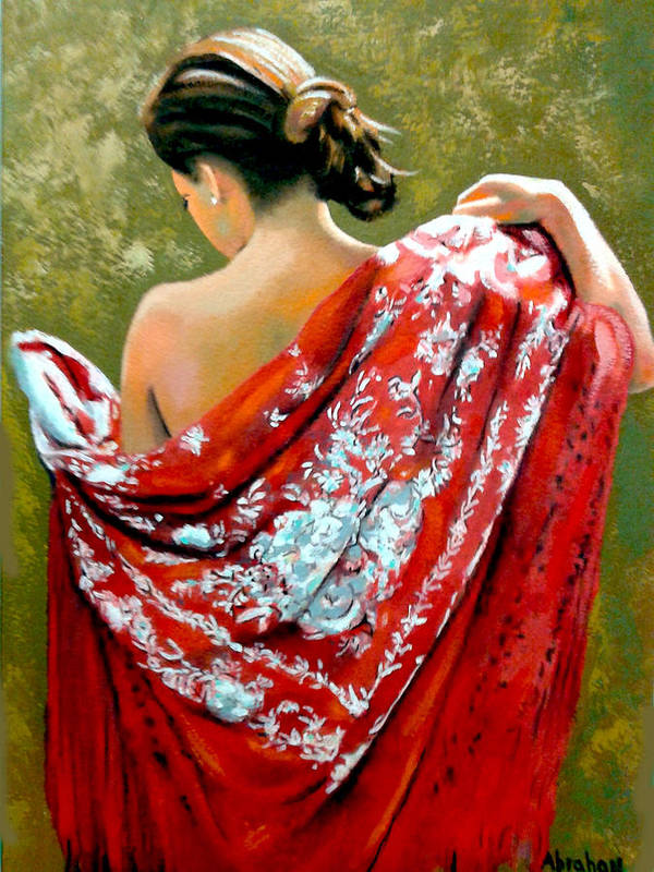 Red Art Print featuring the painting aly by Jose Manuel Abraham