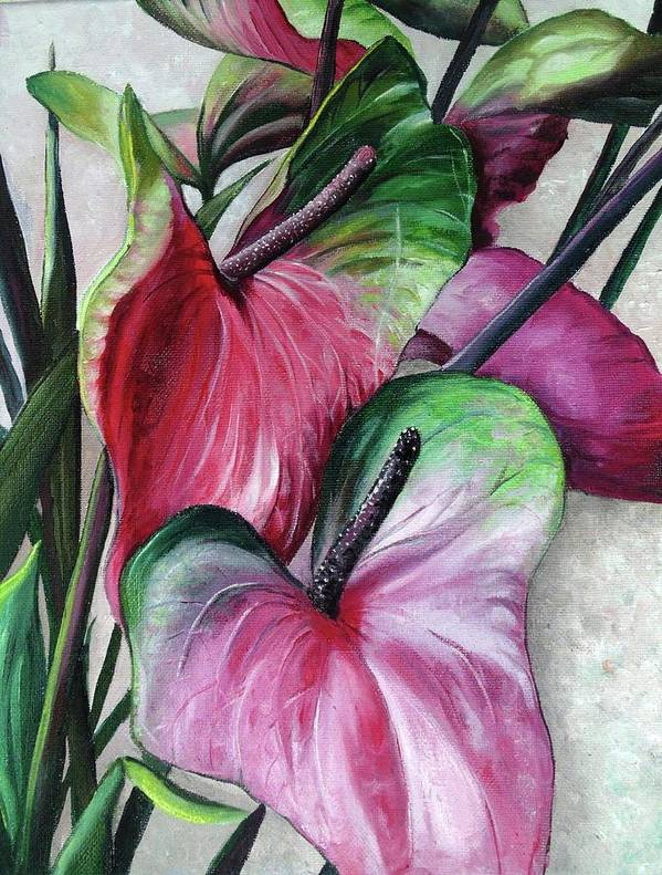 Pink Lilies Art Print featuring the painting Anthuriums by Karin Dawn Kelshall- Best