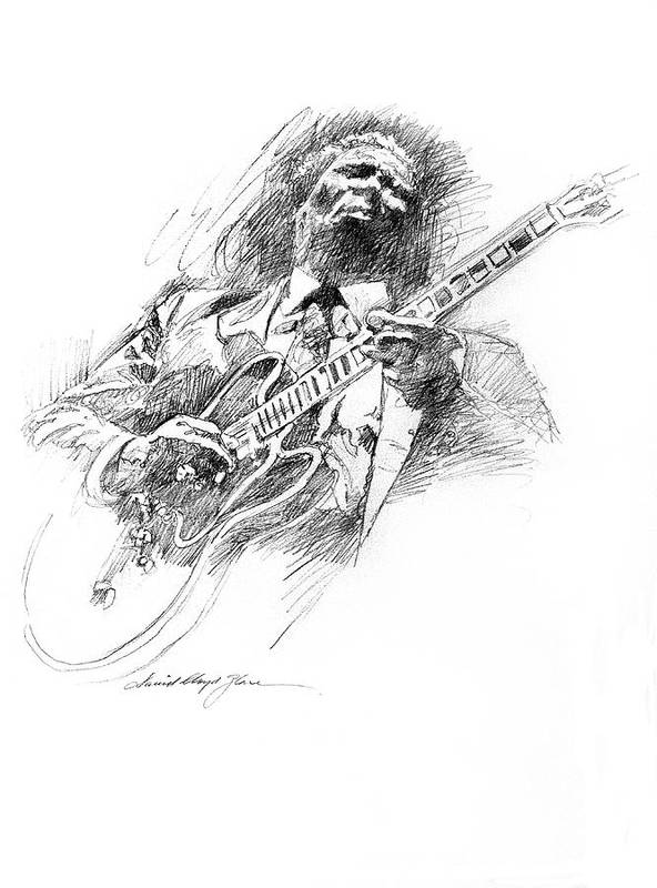 B B King Art Print featuring the drawing B B KING and LUCILLE by David Lloyd Glover