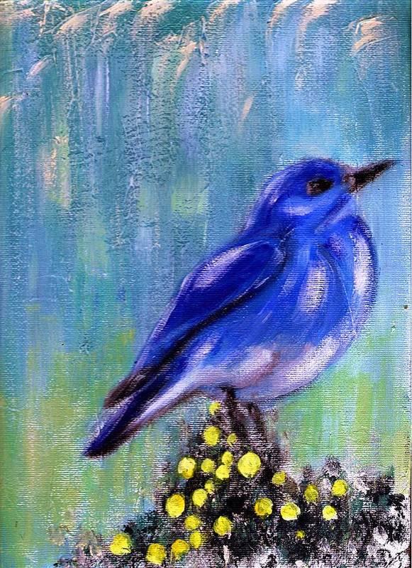 Nature Art Print featuring the painting Blue bird by Joseph Ferguson