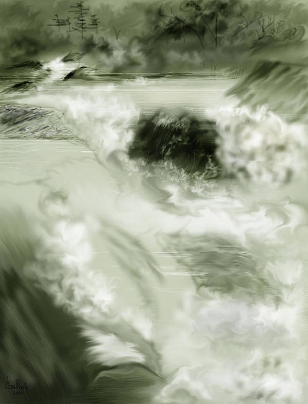White Water Landscape Art Print featuring the painting Cherry Creek White Water by Anne Norskog