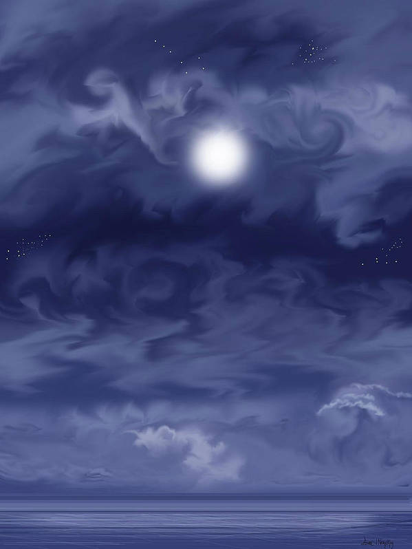 Moon Art Print featuring the painting Cobalt by Anne Norskog