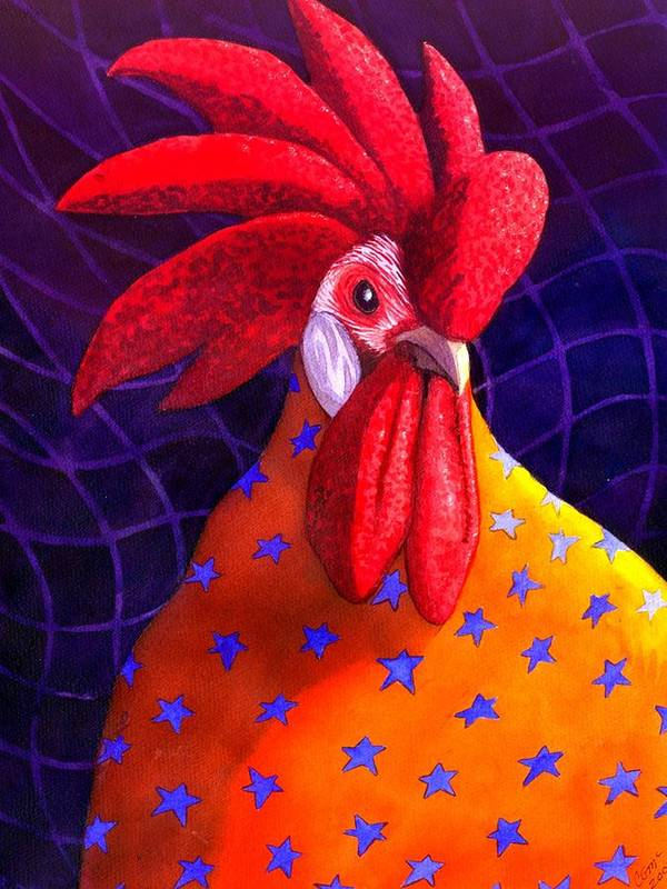 Rooster Art Print featuring the painting Cock A Doodle Dude by Catherine G McElroy