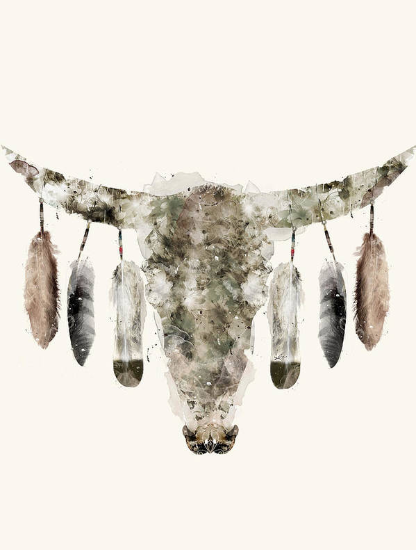 Cow Skull Art Print featuring the painting Cow Skull by Bri Buckley