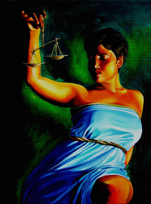 Law Art Art Print featuring the painting Lady Justice by Laura Pierre-Louis